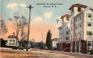 Laconia New Hampshire Church Street Laconia Tavern Antique Postcard J60308
