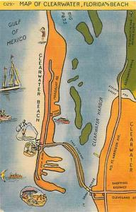 Linen Map Card of Clearwater Florida and Beach FL 1956