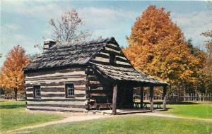 Schoenbrunn Village - New Philadelphia, Ohio - Log Cabin - post card - vintage