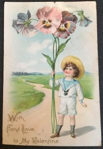 Postcard Used  Child/Pansies Valentine Tuck's Post Card LB