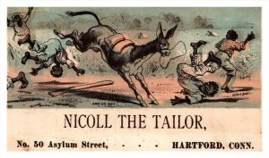 13108 Trade Card  Blacks Americana Mule kicking Men   CT  Hartford  Nicoll th...