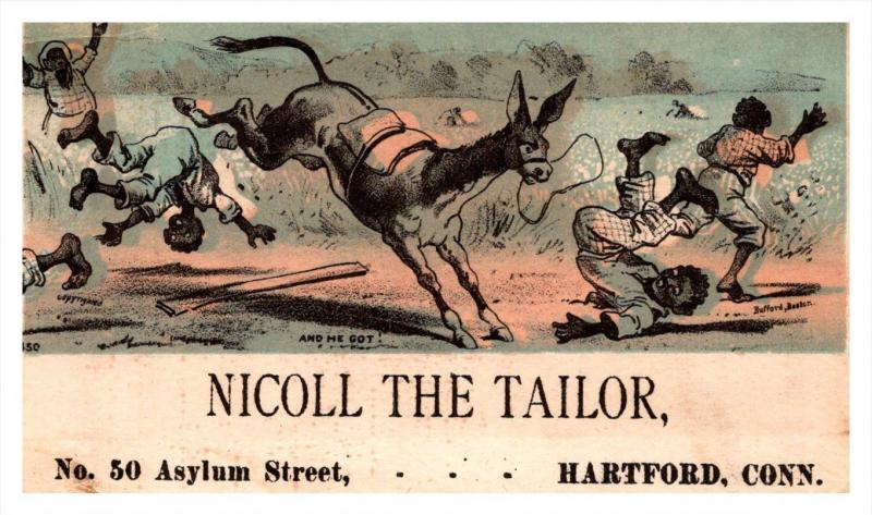 13108 Trade Card  Blacks Americana Mule kicking Men   CT  Hartford  Nicoll th...
