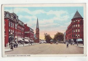 P884 old card main street scene southbridge mass trolly cars etc