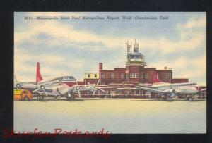 MINNEAPOLIS MINNESOTA ST. PAUL METROPOLITAN AIRPORT AVIATION VINTAGE POSTCARD
