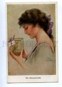 189696 Heart Desire BELLE Woman BIRD birdcage by GNISCHAF old