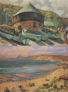 Boats Parked at Sennen Roundhouse Cornwall 2x Painting Postcard s