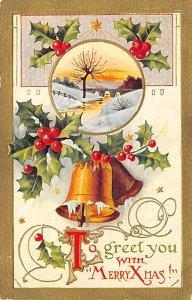 Christmas Post Card Antique Xmas Postcard Writing on back
