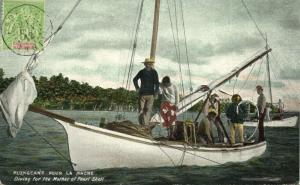tahiti, PAPEETE, Diving for the Mother of Pearl Shell (1899) Postcard
