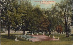 DETROIT MI - WATER WORK PARK with FLORAL USA FLAG 1910s era
