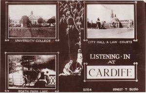 Cardiff HMV LP Record Gramophone Welsh Old Real Photo Postcard