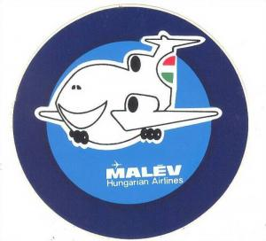 MALEV Airlines luggage label , 60-70s
