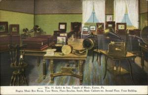 Phonographs Keller & Sons Temple of Music Store Easton PA c1910 Postcard jrf