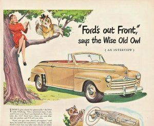 1947 Ford Automobile Vintage Print Ad Wise Old Owl Says Ford's Out Front