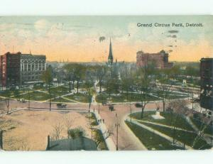 Divided-Back GRAND CIRCUS PARK Detroit Michigan MI c9427
