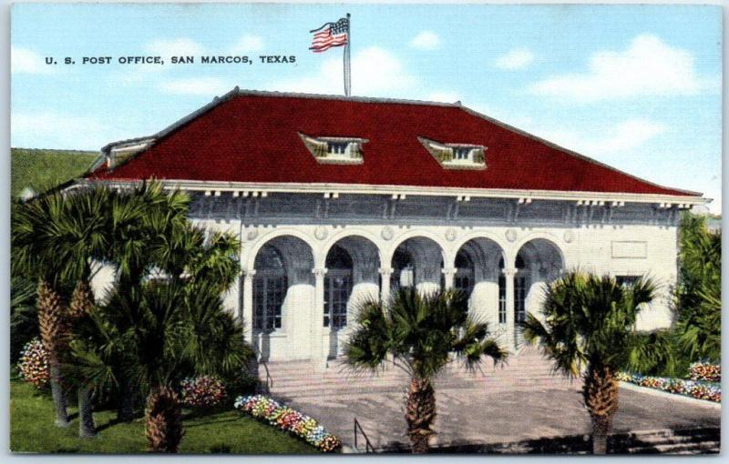 Superb San Marcos, Texas Postcard U.S. POST OFFICE Building View Kropp Linen C1940s