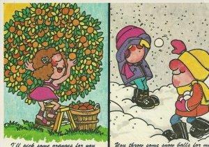 Postcard - FL - Florida Palm Beach Oranges Snowballs Comic - Posted
