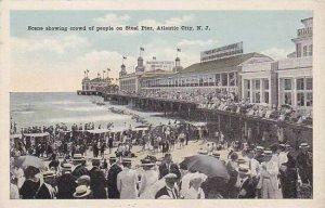 New Jersey Atlantia City Scene Showing Crowd Of People On Steel Pier