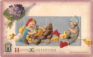 Eastertide Greeting Children Scene With Playful Chicks Antique Postcard V17999