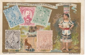 Trade Card (TC): Girl with yeast  , & w/ Stamps , 1880-90s ; PARAGUAY
