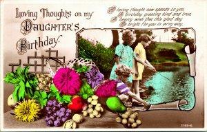Vtg Postal RPPC 1949 Amado Pensamientos On My Daughter's Cumpleaños Chicas Pesca