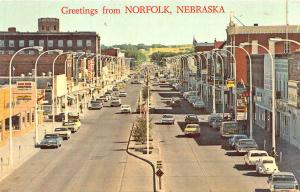 Norfolk NE Street View Store Fronts Old Cars Postcard
