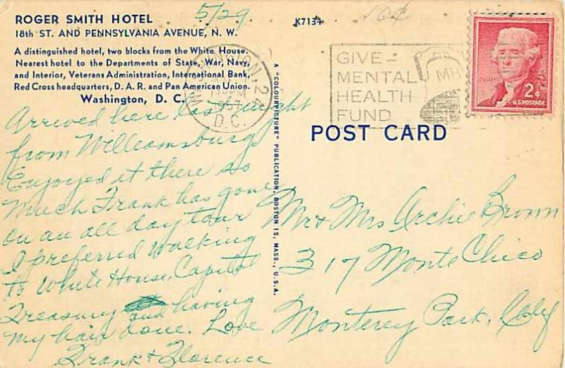 Roger Smith Hotel Washington DC 1957 Linen