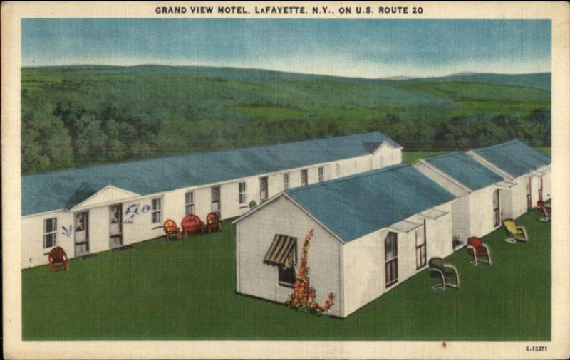 Lafayette NY Grand View Motel LINEN Postcard