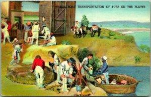 1940s Denver CO Postcard Diorama at State Museum - Bull-Boat Transportation