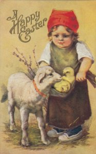 A Happy EASTER, 1900-10s; Girl carrying chicks in apron, lamb