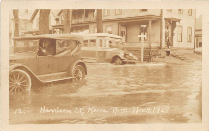 Keene New Hampshire~Harrison Street Flooded~Bus-Vintage Car~1930s RPPC