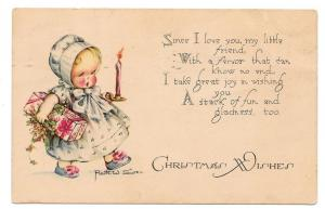 Ruth W Siver Artist Signed Christmas Postcard Little Girl