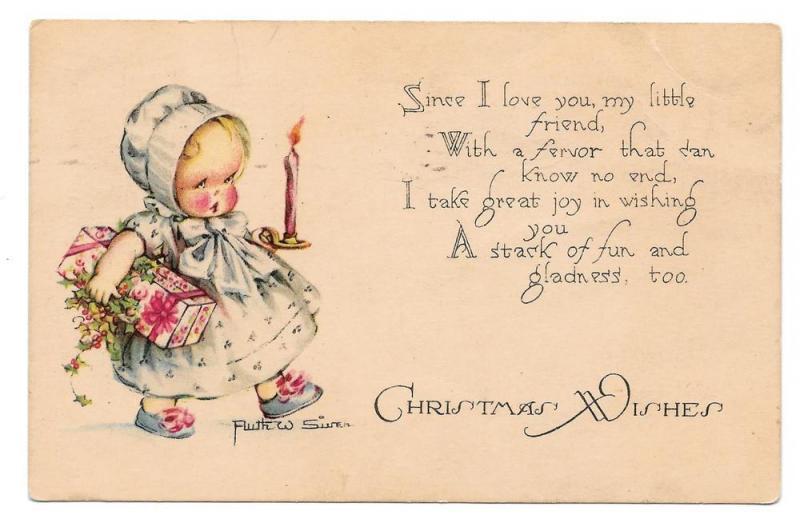 Ruth W Siver Artist Signed Christmas Postcard Little Girl