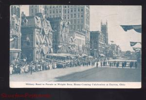 DAYTON OHIO MILITARY BAND WRIGHT BROTHERS PARADE DOWNTOWN OLD POSTCARD