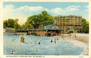 IA - Des Moines. Riverview Park, Bathing Beach, Roller Coaster