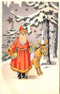 Christmas Santa Claus Donkey French Rare 3 D Postcard