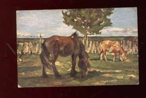 3001232 Funny HORSE & COW on Field by TURZHANSKY vintage Russia