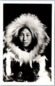 1950s Alaska RPPC Postcard Obleka Eskimo Indian Woman Fur Parka Johnston Photo