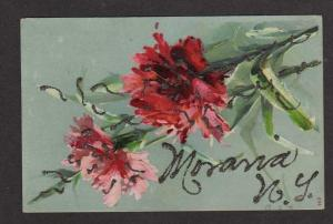 NY Greetings from MORAVIA NEW YORK Postcard PC Flowers