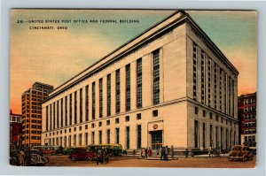 Cincinnati OH, United States Post Office, Federal Building, Ohio Linen Postcard