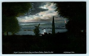 LAKE COUNTY, California CA  Night View SODA BAY on CLEAR LAKE c1910s Postcard
