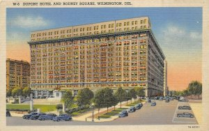 Wilmington Delaware 1940s Postcard Dupont Hotel and Rodney Square