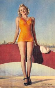 2-BATHING BEAUTIES   Pin-Up Girls    TWO c1940's Linen Postcards