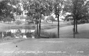 Effingham Illinois~Country Club Beauty Spot~2 Bridges across Pond~1950s RPPC