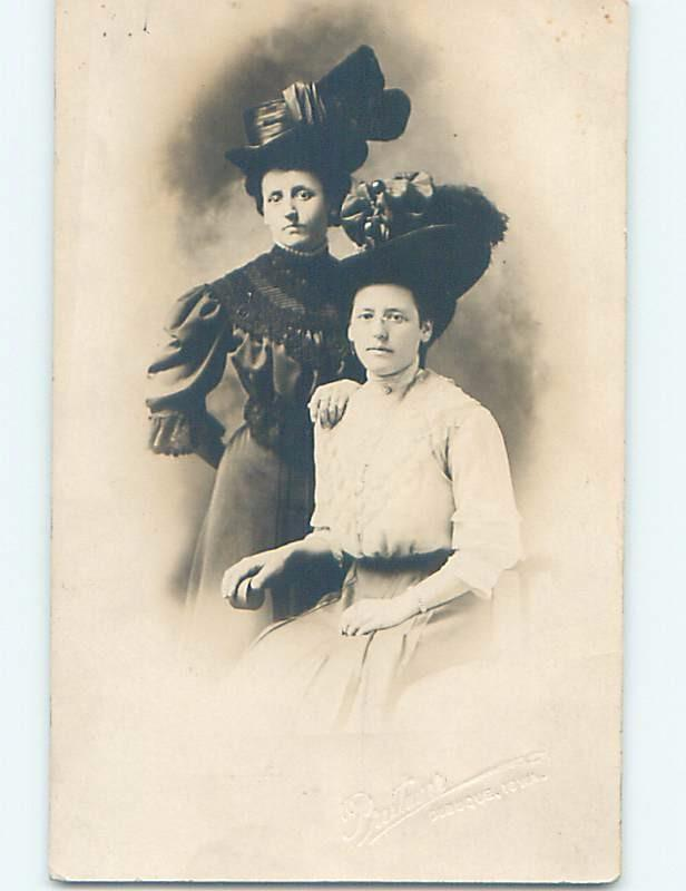 Pre-1918 rppc MOURNING DRESS & BOTH WOMEN WEAR HATS Embossed Dubuque IA HM3150