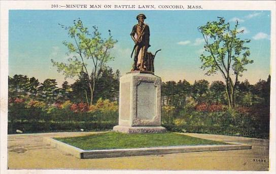 Massachusetts Concord Minute Man On Battle Lawn