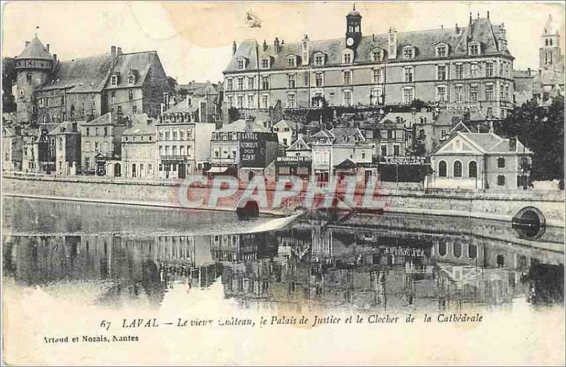 Old Postcard Laval Old Castle Palace of Justice and the bell tower of the Cat...