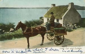 Irish Car and Cottage Horse Buggy Ireland c1903 Postcard E12