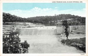 Siloam Springs Arkansas birds eye view Lake Frances Dam antique pc BB79