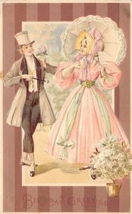 Elegant Couple Offset on Brown Stripes~Pink Gown~Lace Parasol~Top Hat~Emboss