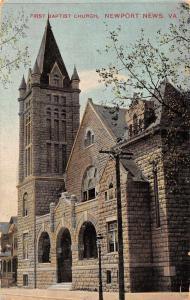 Newport News Virginia First Baptist Church Antique Postcard J71832
